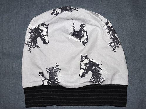 Beanie Pferd grau Mütze Tiere Handmade genäht Jersey