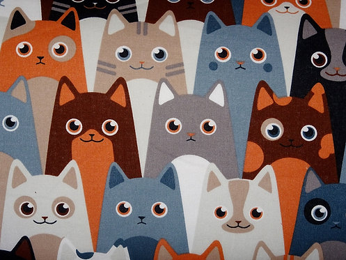 Katzen bunt Katze Katzenstoff Katzenkopf Baumwolle Meterware