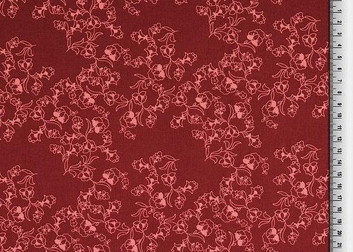 Blumen rosa auf bordeaux schlicht dezent Klaranähta Baumwolle Meterware