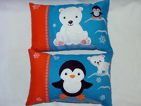 Stickdatei Taschenmotiv + Kissen Eisbär und Pinguin ITH