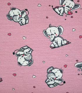 Elefant cute rosa niedlich Jersey Baumwolljersey Meterware Baby Babyelefant