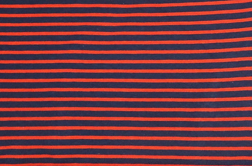 Campan Jersey Streifen dunkelblau orange Meterware gestreift Ringel