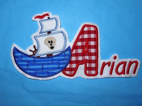 Piratenschiff mit Name Aufnäher