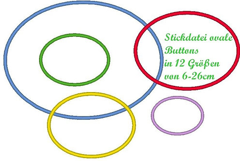 Stickdatei einfache Button Rahmen in 12 Größen