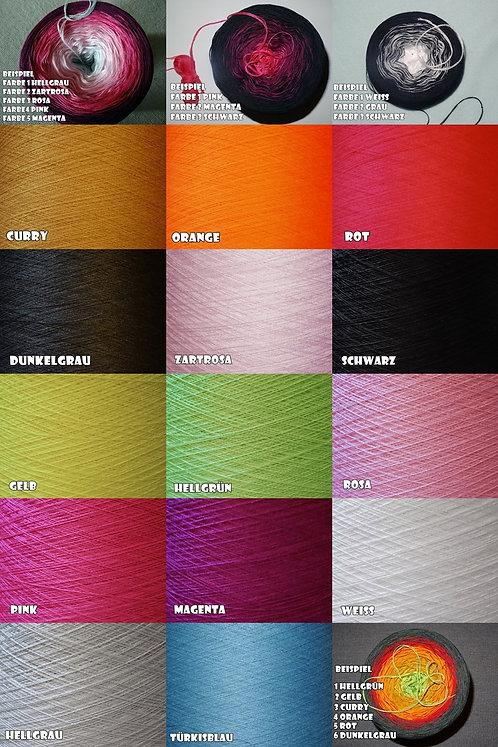 Farbverlauf Bobbel Wolle Baumwolle 3-fädig oder 4fädig 18 Farben 1,50 Euro/100m