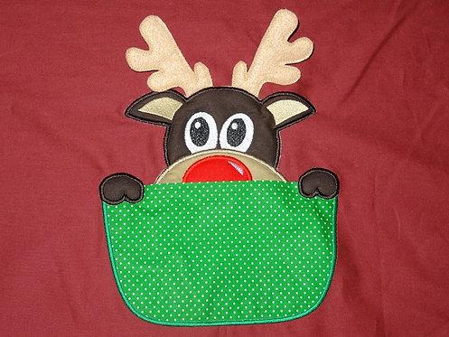 3-D Rentier Elch aus der Tasche Weihnachten ITH Stickdatei