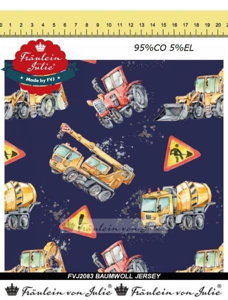 Baufahrzeuge Traktor blau Fräulein von Julie Jersey Baumwolljersey