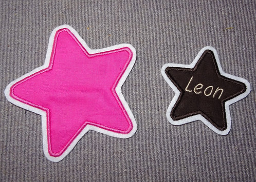 Stern mit runden Ecken in Wunschfarbe 7-20cm Applikation Aufnäher Name möglich