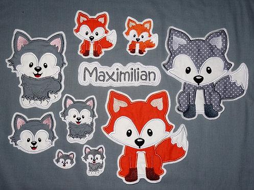 Fuchs oder Wolf in Wunschfarbe Applikation Handmade