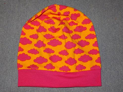 Beanie Wolken pink orange Mütze Handmade genäht Jersey Mädchen