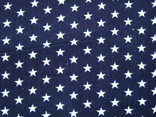Feincord Cord Sterne schwarz  hellblau BW Meterware