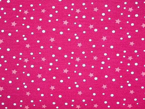 Sterne und Punkte pink rosa 5mm Jersey Meterware Baumwolljersey