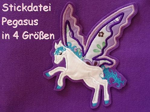 Stickdatei Pegasus in 5 Größen Pferd Schmetterling