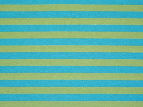 Jersey Streifen hellgrün türkis 11mm Meterware