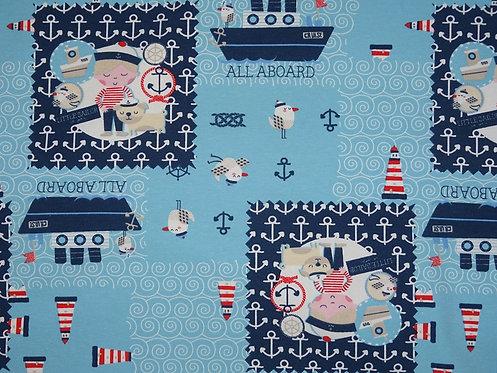 Hafenjunge  auf hellblau Jersey Baumwolle Meterware Baumwolljersey
