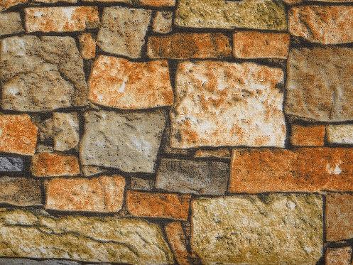 Canvas Steine Mauerwerk Feldsteinmauer Baumwolle Meterware