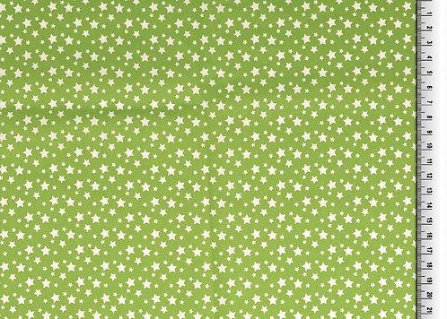 kleine Sterne weiß auf hellgrün Baumwolle Meterware