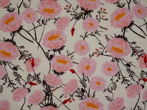 Wildrosen Rose rosa creme Fräulein von Julie Jersey Baumwolle Rosen