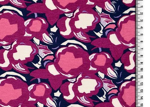 Blüten pink beere rosa dunkelblau Viskose Viskosejersey