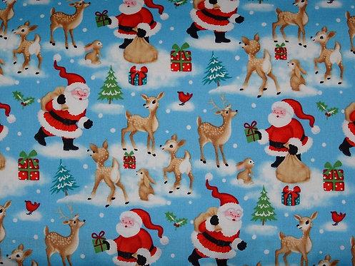Weihnachten Weihnachtsstoff Reh Weihnachtsmann Baumwolle Meterware