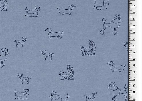 kleine Hunde auf taubenblau Hund Jersey Baumwolle Meterware Baumwolljerse