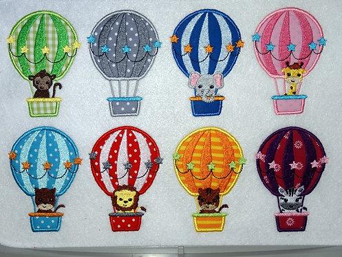Ballon Tiere Stickdatei mit Elefant und Giraffe im Heißluftballon