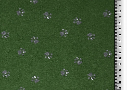 Hunde Tatzen auf dunkelgrün Jersey Baumwolle Meterware Baumwollje