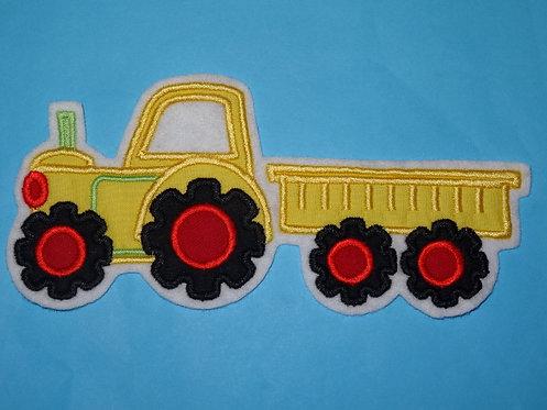 Traktor mit Hänger Aufnäher gelb