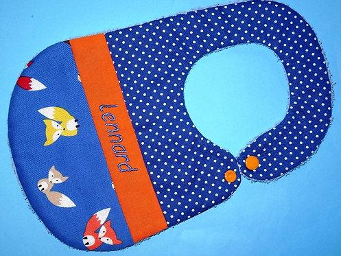 Lätzchen blau mit Fuchs und Name