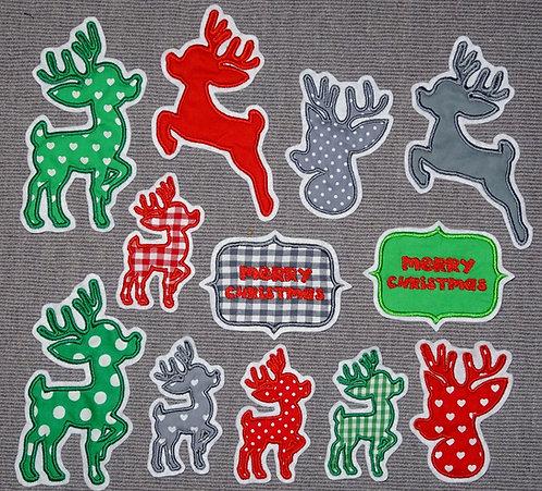 Hirsch Reh Applikation Handmade Aufnäher Patch Hirsche Paar grün rot Weihnachten