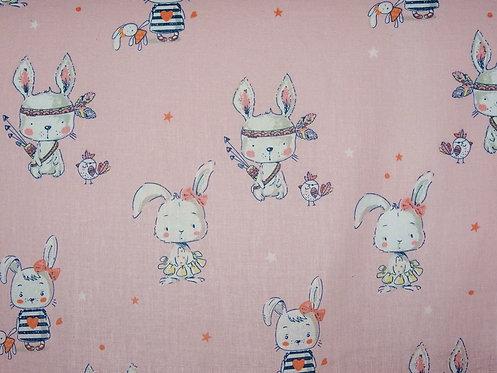 Hase auf rosa allerliebstes Häschen  boho Cute Baumwolle Meterware Webware