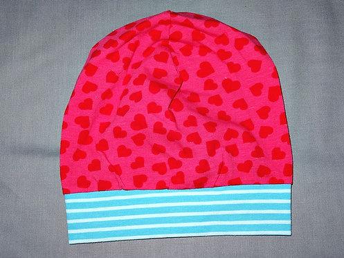Beanie Herzen pink rot türkis Mütze Handmade genäht Jersey Mädchen