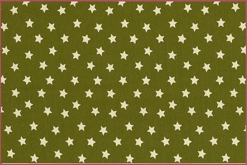 Sterne 1cm oliv weiß Jersey Baumwolljersey Meterware