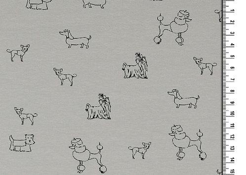 kleine Hunde auf hellgrau Hund Jersey Baumwolle Meterware Baumwollje