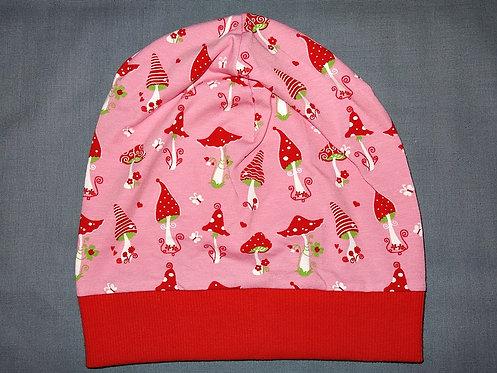 Beanie Sterne Pilze rosa Mütze Handmade genäht Jersey Mädchen