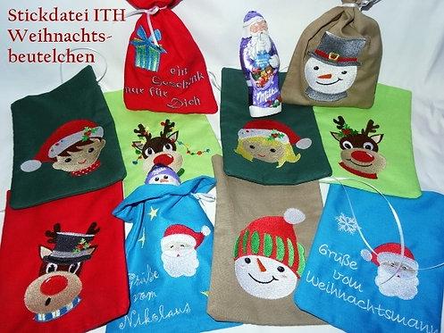 Weihnachtenssäckchen Stickdatei ITH 13x18