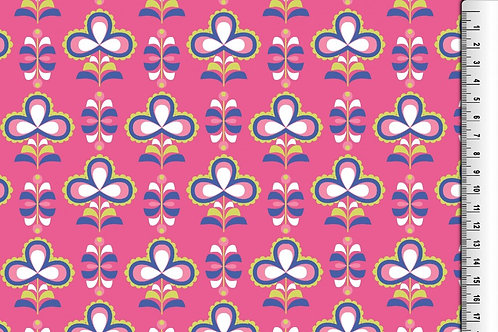 Retro Blumen Wintersweat pink blau Jersey French Terry angeraut Meterware