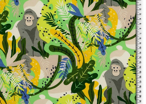 Affen im Dschungel Wintersweat Sweat Kombistoff Meterware Ba