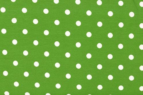 Punkte 7mm grün weiß Jersey Baumwolljersey Meterware