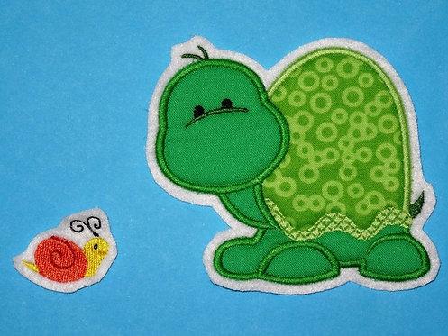 Schildkröte mit Schnecke Aufnäher