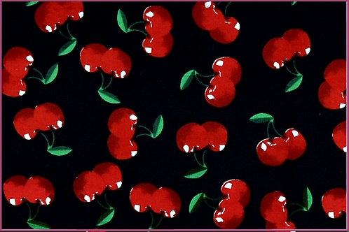 Obst Kirschen auf schwarz  Sommer allover Baumwolle Meterware