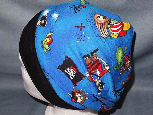 Beanie Piraten blau Mütze Handmade genäht Jersey