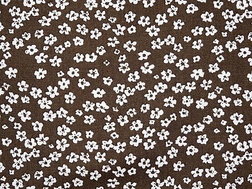 kleine Blumen braun weiß Baumwolle
