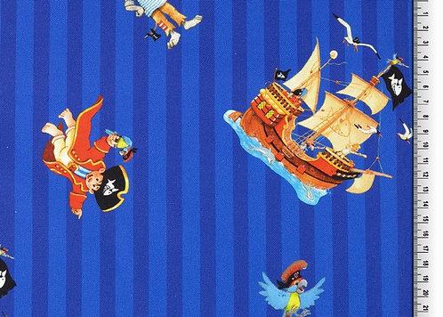 Capt'n Sharky Streifen blau Canvas Baumwolle Meterware Baumwollstoff