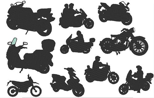 Motorrad Motorroller Stickdatei Silhouetten