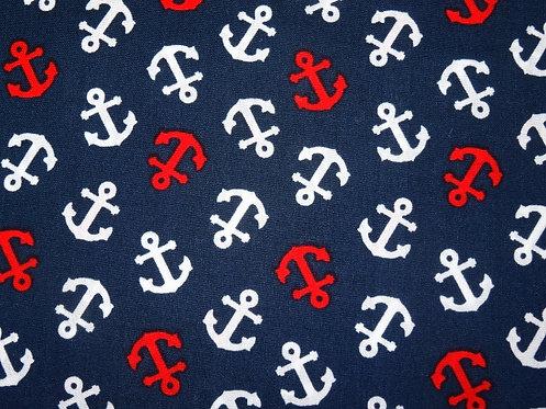 Anker Baumwolle maritim dunkelblau weiß rot
