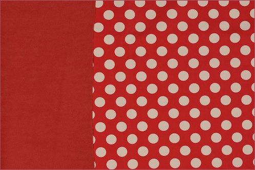 Softshell Fleece Punkte 2cm rot weiß Meterware Winddicht