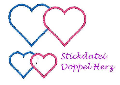 Stickdatei Doppeltes Herz Herzapplikation