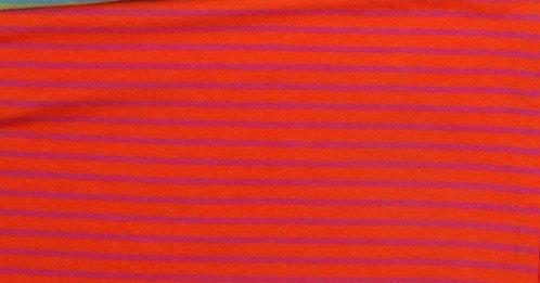 Campan Jersey Streifen dunkelorange pink  Meterware gestreift Ringel