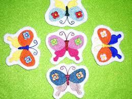 5 kleine Schmetterlinge Aufnäher bunt